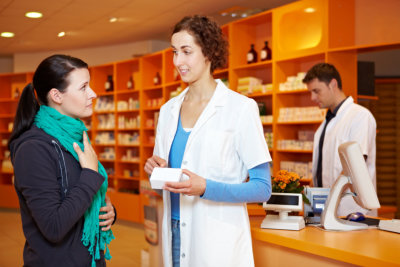 lady pharmacist consulting a young lady