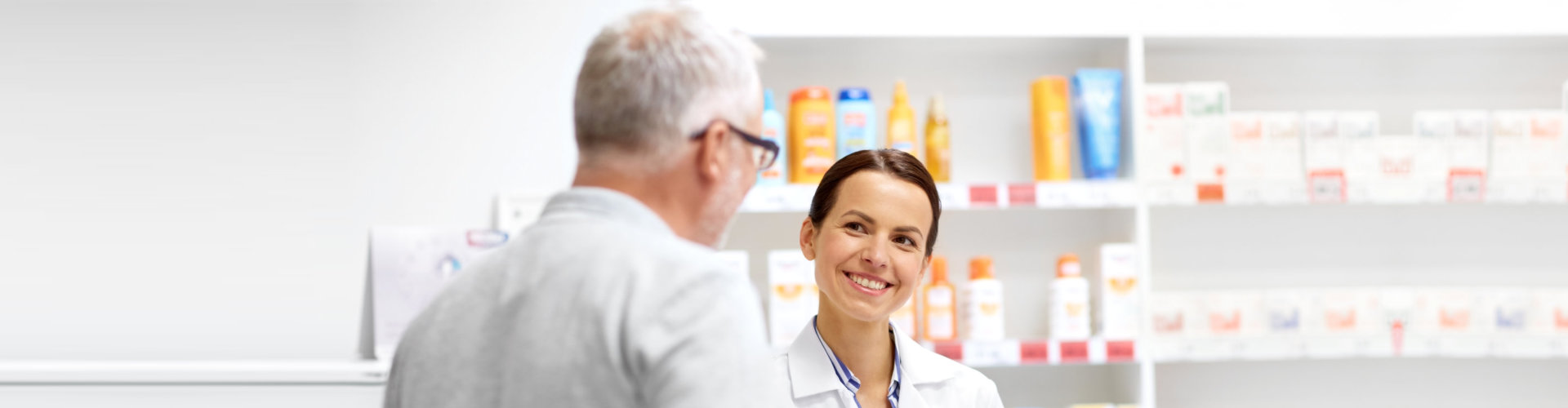 client and talking to pharmacist